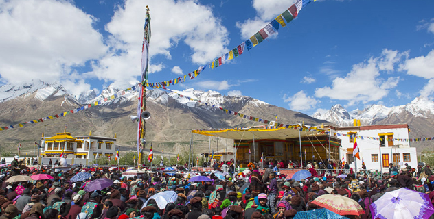 A view of the venue during the first day of His Holiness the Dalai Lama's three day teaching in Padum, Zanskar, J&K, India on June 23, 2014. Photo/Tenzin Choejor/OHHDL
