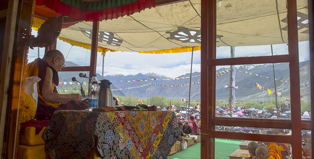His Holiness the Dalai Lama speaking during his the first day of his three day teaching in Padum, Zanskar, J&K, India on June 23, 2014. Photo/Tenzin Choejor/OHHDL