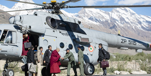 His Holiness the Dalai Lama being greeted on arrival in Padum, Zanskar, J&K, India on June 23, 2014. Photo/Tenzin Choejor/OHHDL