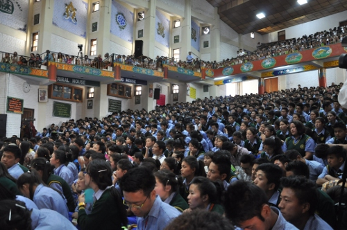 Tibetan students at the introductory teaching on Buddhism by His Holiness the Dalai Lama, 4 June 2014.