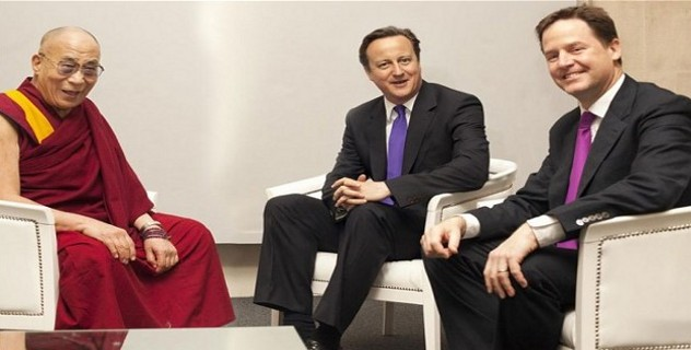 His Holiness the Dalai Lama with British Prime Minister David Cameron and Deputy Prime Minister Nick Clegg in 2011 (Photo: Clifford Shirley)