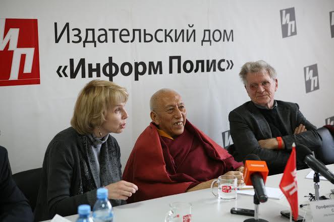 Prof Samdhong Rinpoche (C), Julia Jironkina of Save Tibet, Russia (L) and Prof Robert Thurman (R) in Buriyatia Republic, Russia