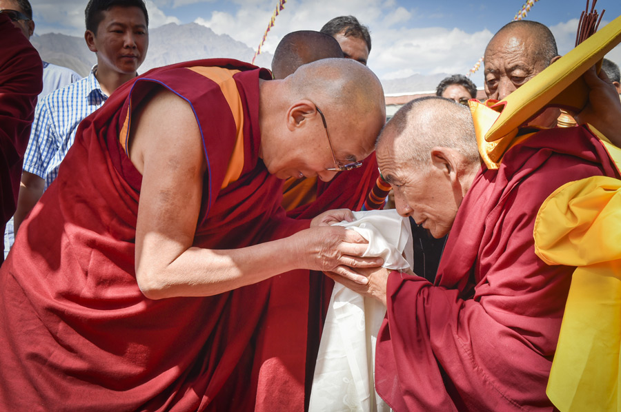 His Holiness the Dalai Lama arriving at the new debating hall at Rudok Monastery in Chglamsar Tibetan Settlement near Leh, Ladakh, J&K, India on July 15, 2014. Photo/Manuel Bauer