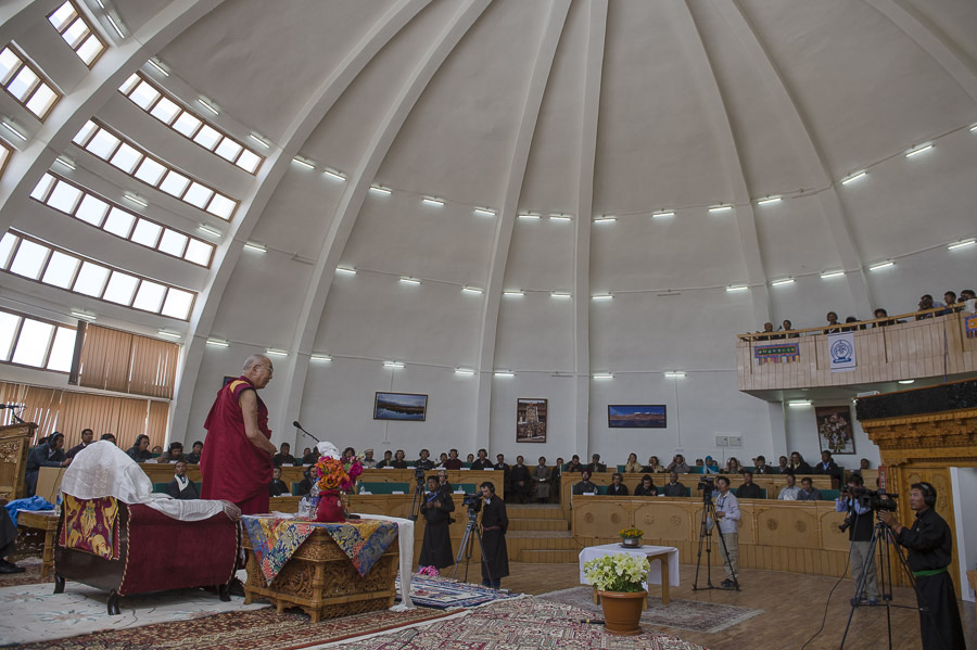 His Holiness the Dalai Lama speaking at the Ladakh Autonomous Hill Development Council (LAHDC) in Leh, Ladakh, J&K, India on July 15, 2014. Photo/Tenzin Choejor/OHHDL