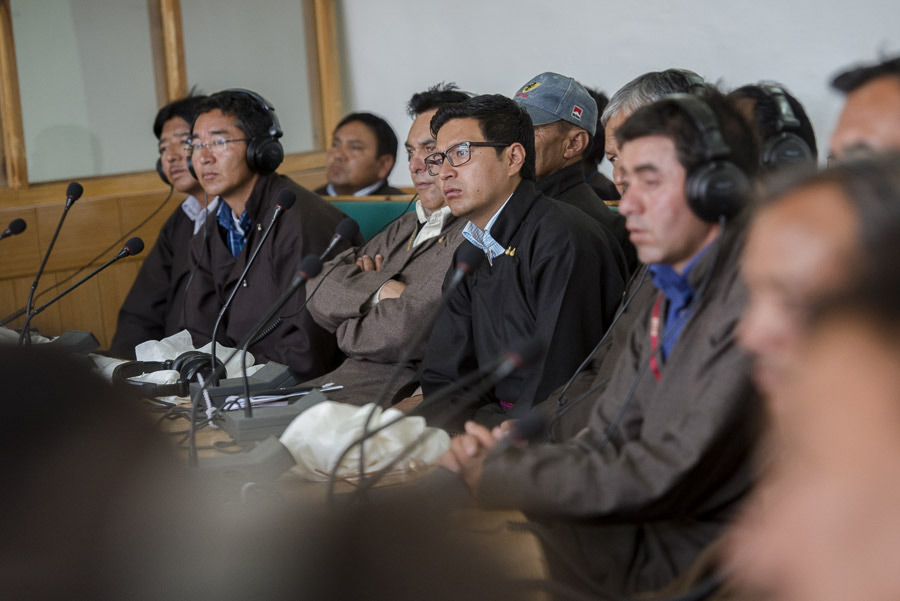 Members of the Ladakh Autonomous Hill Development Council (LAHDC) listening to His Holiness the Dalai Lama in Leh, Ladakh, J&K, India on July 15, 2014. Photo/Tenzin Choejor/OHHDL