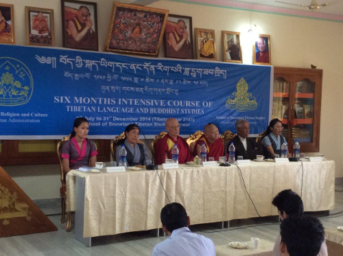Khen rinpoche of Gyudmed Monastery at the inauguration of the six-month Tibetan  language course.
