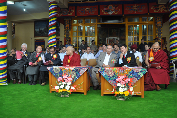 Top officials of the Central Tibetan Administration with Mr. G S Bali, Transport, Food, Civil Supplies & Consumer Affairs and Technical Education Minister in Himachal Pradesh, the chief guest, on the occasion of His Holiness the Dalai Lama's 79th birthday celebrations in Dharamsala, India, 6 July 2014/DIIR Photo/Tenzin Phende