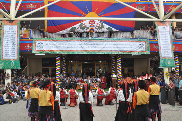 Tibetan schoolchildren present traditional dance on the occasion of His Holiness the Dalai Lama's 79th birthday celebrations in Dharamsala, India, 6 July 2014/DIIR Photo/Tenzin Phende