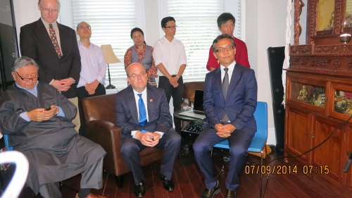 Rep. Kaydor Aukatasang with US Congressman Jim McGovern and Kasur Gyari Rinpoche