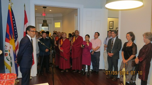 Representative Kaydor Aukatsang welcoming the guest, and explaining the reason for Office of Tibet moving to DC