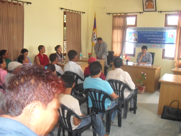 Health Kalon giving a talk during his visit to a Tibetan settlement in Sirmour district in Himachal Pradesh