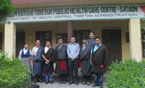 Health Kalon with local health officials during his visit to Tibetan settlement in Sataun in Sirmour district in Himachal Pradesh