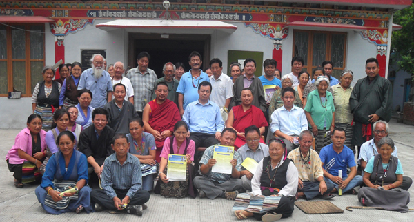 Health Kalon with general public during his visit to a Tibetan settlement in Sirmour district in Himachal Pradesh