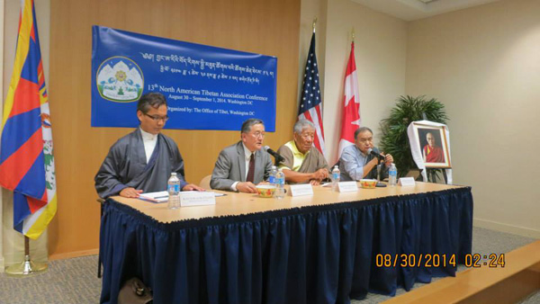 Former Representative Tenzin Namgyal Tethong (2nd left) addressing the 13th North American Tibetan Associations conference in Washington, DC, on 30 August 2014/Photo/OoT