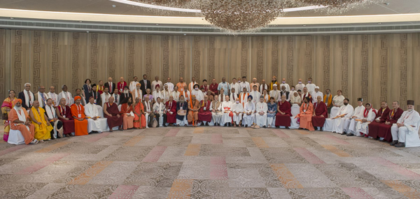 A group photo of the delegates to 'A Meeting of Diverse Spiritual Traditions in India' convened by His Holiness the Dalai Lama in New Delhi, India on September 20, 2014. Photo/Tenzin Choejor/OHHDL