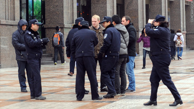 Foreign reporters being stopped from reporting in Beijing, China. (CNN photo)