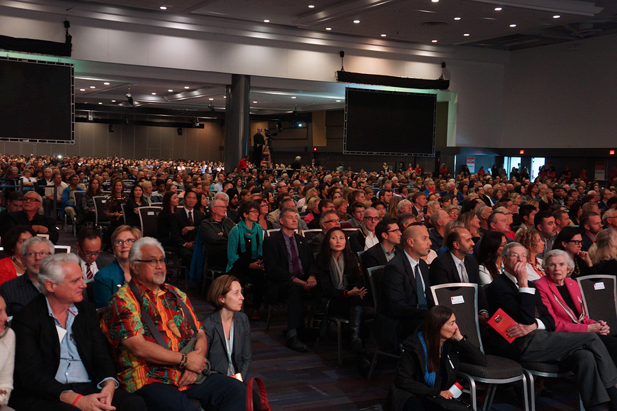 Members of the audience listening to His Holiness the Dalai Lama speaking at the forum on Science of Education of the Heart at the Vancouver Convention Center in Vancouver, Canada on October 21, 2014. Photo/Jeremy Russell/OHHDL