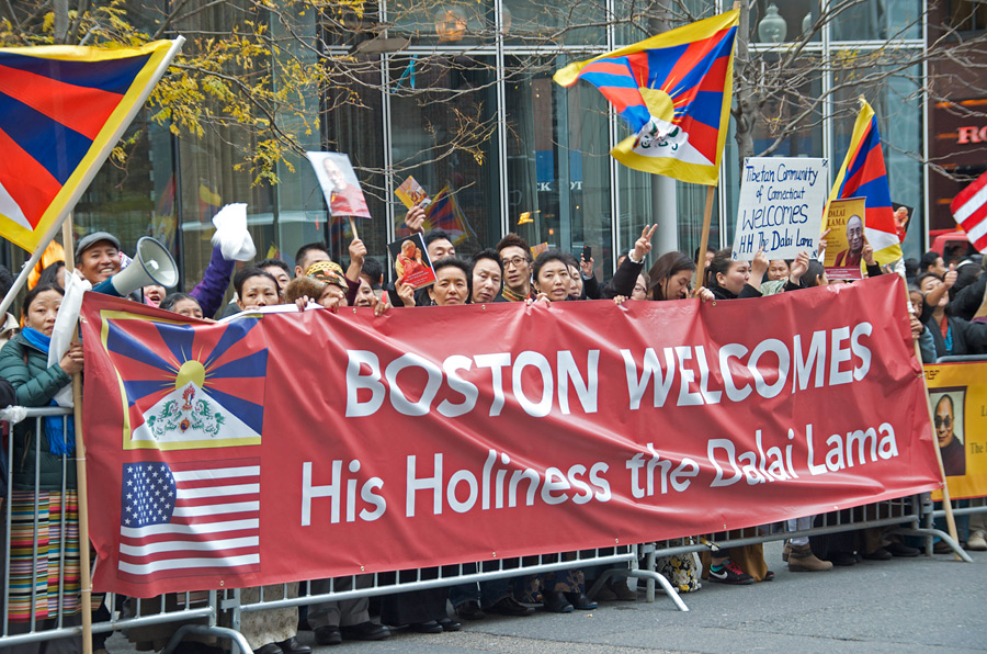 Supporters of His Holiness the Dalai Lama waiting for his arrival at the Wang Center for Performing Arts, venue for his teaching in Boston, MA, USA on October 30, 2014. Photo/Ganzey Tshering