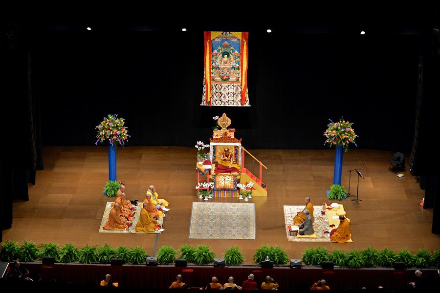 A view of the stage at the Wang Center for Performing Arts during His Holiness the Dalai Lama's teaching in Boston, MA, USA on October 30, 2014. Photo/Sonam Zoksang
