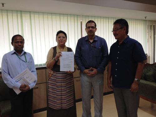 Home Kalon Dolma Gyari with Joint Secretary of MHA Mr. K.K Pathak, Under Secretary Mr. S.K.Parida and Home Secretary Mr. Sonam Topgyal Khorlatsang