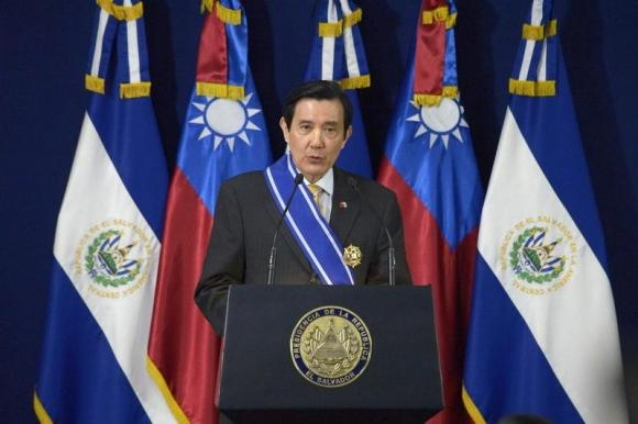 Taiwan President Ma Ying-jeou delivers a speech after signing agreements with El Salvador's President Salvador Sanchez Ceren at the Presidential House in San Salvador July 2, 2014. CREDIT: REUTERS/JESSICA ORELLANA/FILES