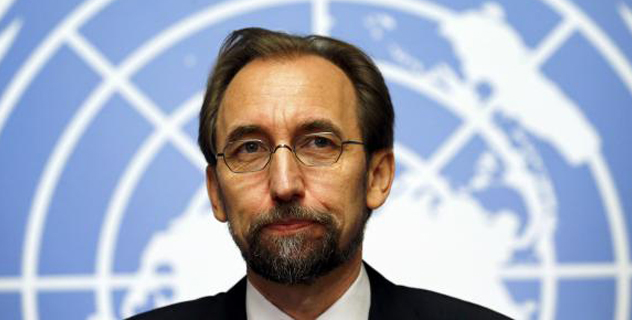 Jordan's Prince Zeid Ra'ad Zeid al-Hussein, U.N. High Commissioner for Human Rights pauses during a news conference at the United Nations European headquarters in Geneva October 16, 2014/CREDIT: REUTERS/DENIS BALIBOUSE