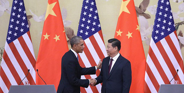 Obama, left, is pictured here shaking hands with Chinese President Xi Jinping, right, after a joint press conference at the Great Hall of People. Obama paid a state visit to China after attending the 22nd Asia-Pacific Economic Cooperation (APEC) Economic Leaders' Meeting/Getty Images