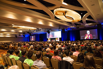 An audience of over 1700 attending the International Symposium for Contemplative Studies with His Holiness the Dalai Lama organized by the Mind & Life Institute in Boston, MA, USA on October 31, 2014. Photo/Jurek Schreiner