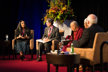 Panelist Dr Amishi Jha speaking during the 2nd International Symposium for Contemplative Studies organized by the Mind & Life Institute in Boston, MA, USA on October 31, 2014. Photo/Jurek Schreiner