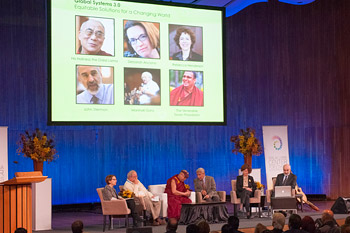 The first panel discussion on Global Systems 3.0: Equitable Solutions for a Changing World organized by The Dalai Lama Centre for Ethics and Transformative Values at MIT's Kresge Auditorium in Cambridge, MA, USA on October 31, 2014. Photo/Brian Lima