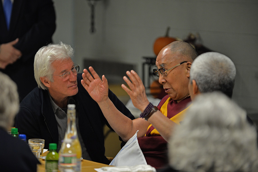 His Holiness the Dalai Lama gestures as he speaks to a group of supporters including his old friend actor Richard Gere after his public talk in Boston, MA, USA on November 1, 2014. Photo/Sonam Zoksang