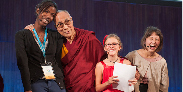 His Holiness the Dalai Lama with the young panelists at the end of a conversation that was part of the SPARK 2014 program organized by the Dalai Lama Center for Ethics and Transformative Values at MIT's Kresge Auditorium in Cambridge, MA, USA on October 31, 2014. Photo/Brian Lima