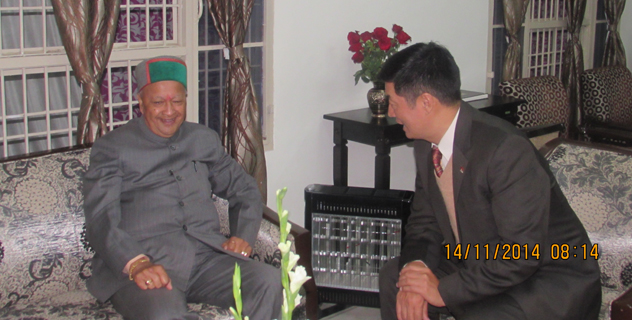 Sikyong Dr. Lobsang Sangay during a meeting with Shri. Virbhadra Singh, the chief minister of Himachal Pradesh, in Dharamsala on 13 November 2014