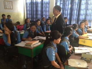 Education Kalon during one of his visits to a classroom in a tibetan school near Dehradun.