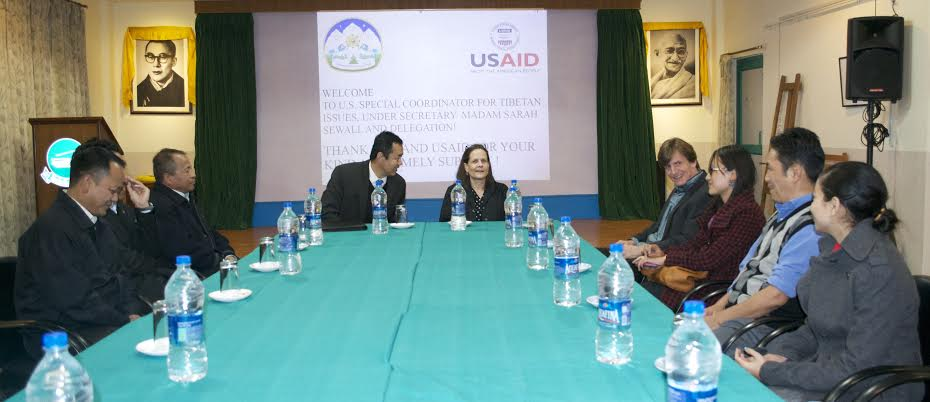 Kalon Dr.Tsering Wangchuk; USAID India Health Director Nancy Godfrey;  Health Secretary, Mr.Tsegyal Dranyi;  Bob Ankerson, Vice President of Tibet Fund; and Staff of the Health Department