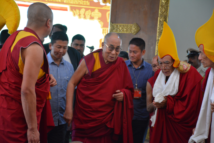 His Holiness the Dalai Lama arriving at the main temple of Gaden Jangtse Monastery in Mundgod Tibetan settlement. Photo/ Ngawang Thogmey/DIIR