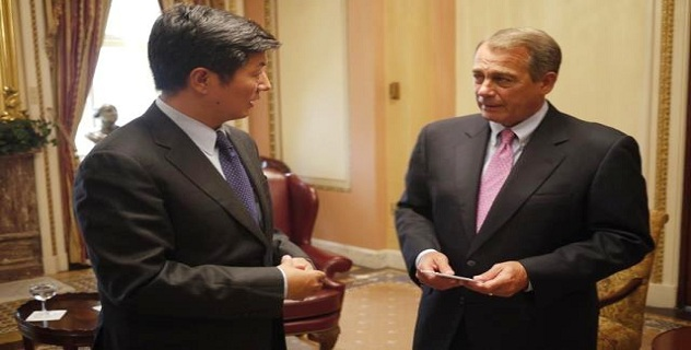 Sikyong Dr. Lobsang Sangay with US House Speaker John Boehner during their meeting in Washington, DC, on 19 July 2012.