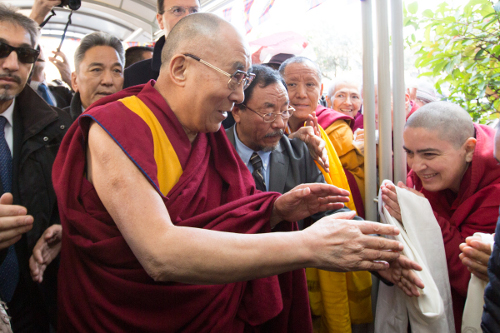 His Holiness the Dalai Lama being welcomed by Tibetans and Buddhists on his arrival at Rome, Italy.