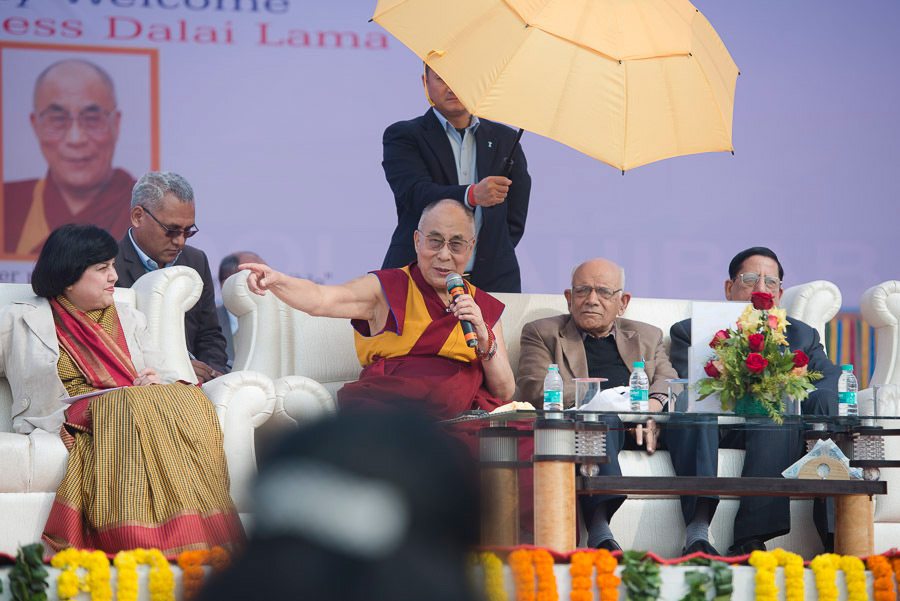 His Holiness the Dalai Lama answering questions from the audience during his talk at the Dayanand Anglo-Vedic (DAV) School in Ghaziabad, UP, India on January 27, 2015. Photo/Tenzin Choejor/OHHDL