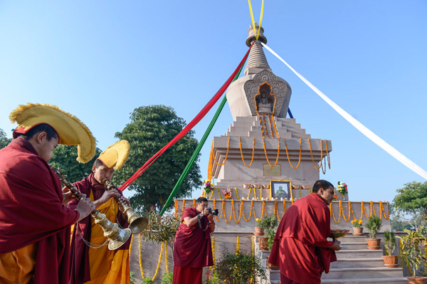 Monks preparing to welcome His Holiness the Dalai Lama to the new stupa at Sechen Monastery in Sankisa, UP, India on January 31, 2015. Photo/Tenzin Choejor/OHHDL