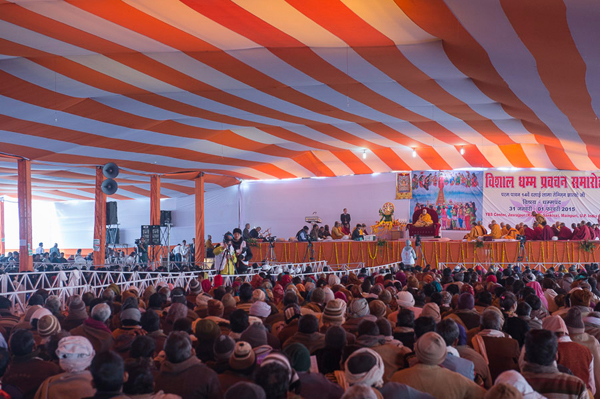 A view of the stage during the afternoon session of the first day of His Holiness the Dalai Lama's two day teaching at the Youth Buddhist Society's teaching ground in Sankisa, UP, India on January 31, 2015. Photo/Tenzin Choejor/OHHDL