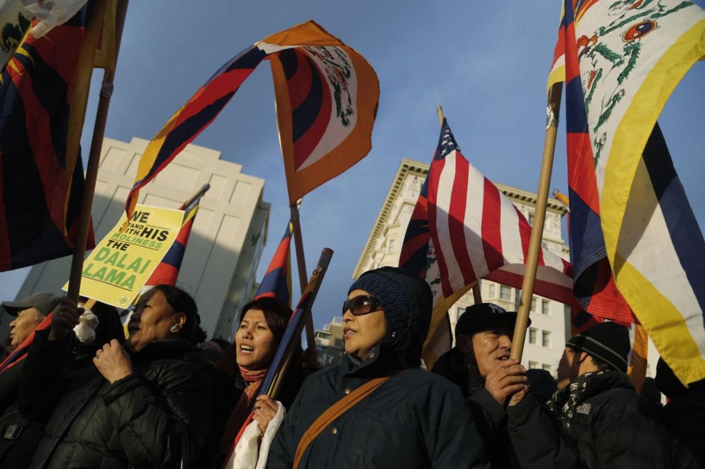 Supporters of the Dalai Lama rally outside the site of the National Prayer Breakfast which he is attending at the Washington Hilton in Washington, February 5, 2015.
