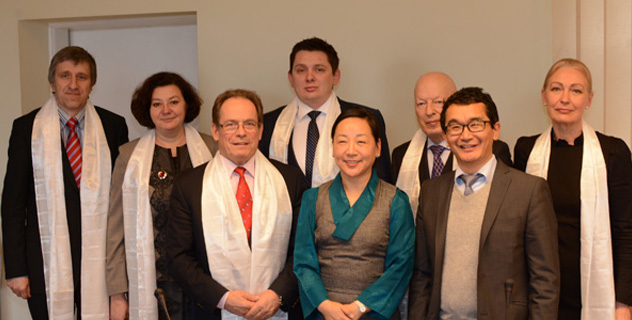 Kalon Dicki Chhoyang with members of Latvian Parliamentary Tibet Support Group