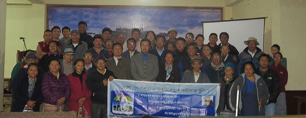 Health Kalon Dr. Tsering Wangchuk with membes of the Tibetan community in Gangtok, Sikkim.