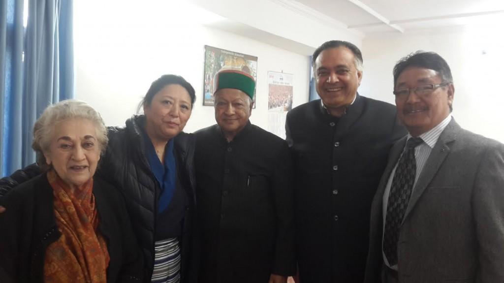 From Left: Ms. Vidya Stokes, Kalon Dolma Gyari, Shir. Virbhadra Singh, Chief Minister, Shri. G.S Bali, and Mr. Sonam Topgyal Khorlatsang.