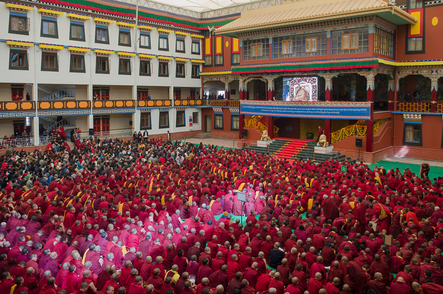 Image taken during the visit of His Holiness the Dalai Lama to Sherabling Monastery
