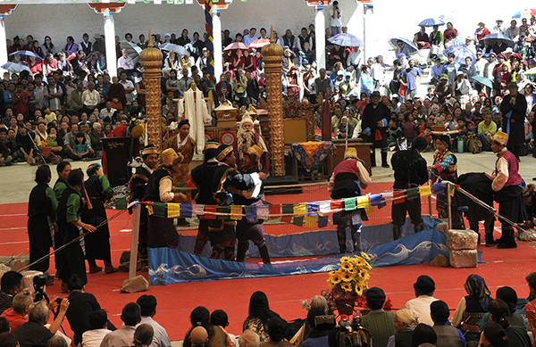 An opera troupe enacting a performance on the life of Druptho Thang Thong Gyalpo, the founder of Tibetan opera, 27 March 2015.