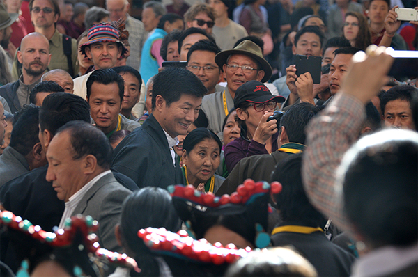 Sikyong Dr. Lobsang Sangay, the democratically elected political leader of the Tibetan people, arriving at the inaugural ceremony of the 20th Shoton festival, 27 March 2015.