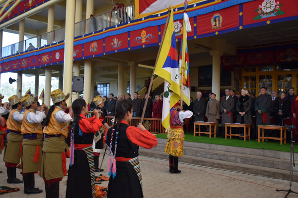 The Tibetan Institute of Performing Arts playing the Tibetan national anthem at the 56th Anniversary of the Tibetan national Uprising Day in Dharamsala, India, on 10 March 2015/DIIR Photo/Jamyang Tsering