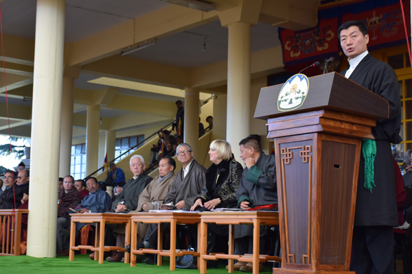 Sikyong Dr. Lobsang Sangay addressing the 56th Anniversary of the Tibetan national Uprising Day in Dharamsala, India,, on 10 March 2015/DIIR Photo/Jamyang Tsering
